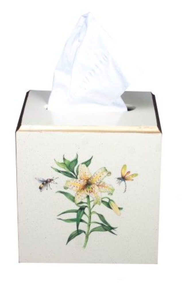 Square Tissue Box Cover: Japanese Lily