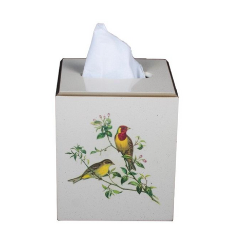 Square Tissue Box Cover: Oriental Songbirds