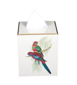 Square Tissue Box Cover: Pair of Parrots