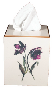 Square Tissue Box Cover: Parrot Tulip