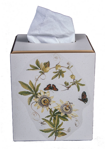 Square Tissue Box Cover: Passion Flower