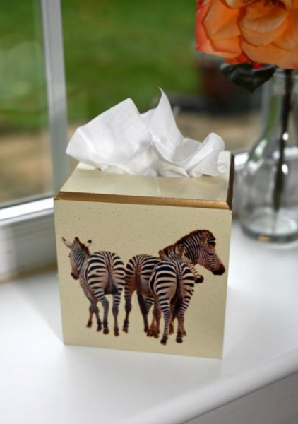 Square Tissue Box Cover: Zebra