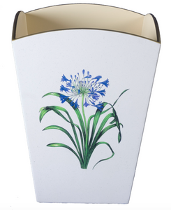 Square Wooden Waste Paper Bin: Agapanthus