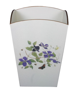 Square Wooden Waste Paper Bin: Clematis
