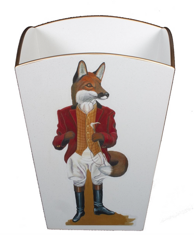 Square Wooden Waste Paper Bin: Fox