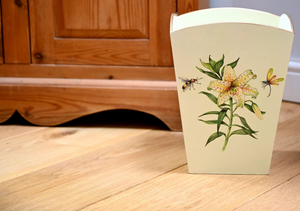 Square Wooden Waste Paper Bin: Japanese Lily