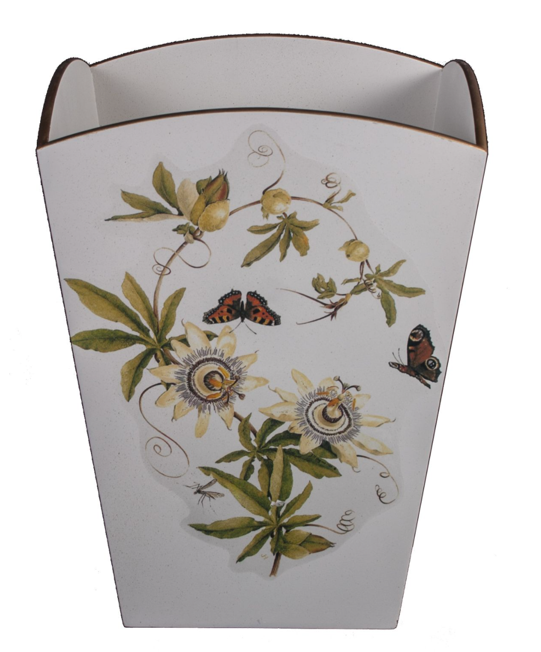 Square Wooden Waste Paper Bin: Passion Flower
