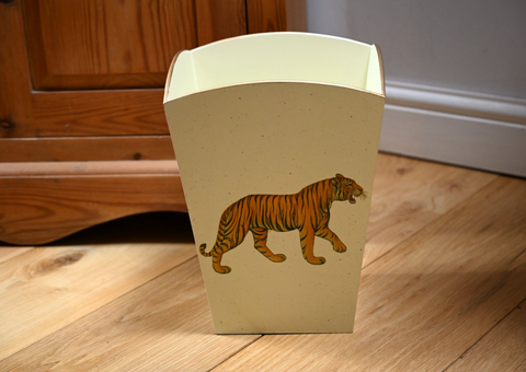 Square Wooden Waste Paper Bin: Tiger