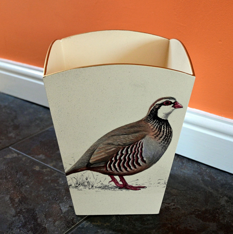 Square Wooden Waste paper Bin: Partridge