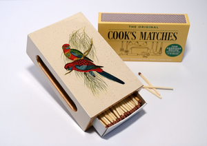 Standard Wooden Matchbox Cover with Matches: Pair of Parrots