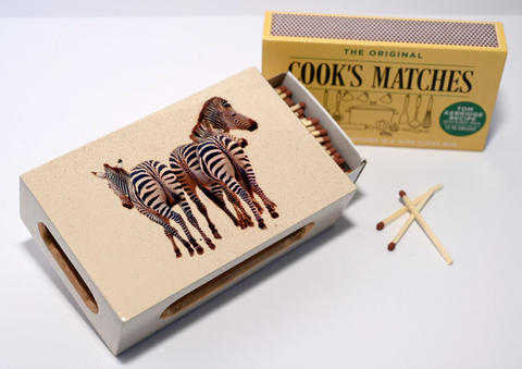Standard Wooden Matchbox Cover with Matches: Zebra