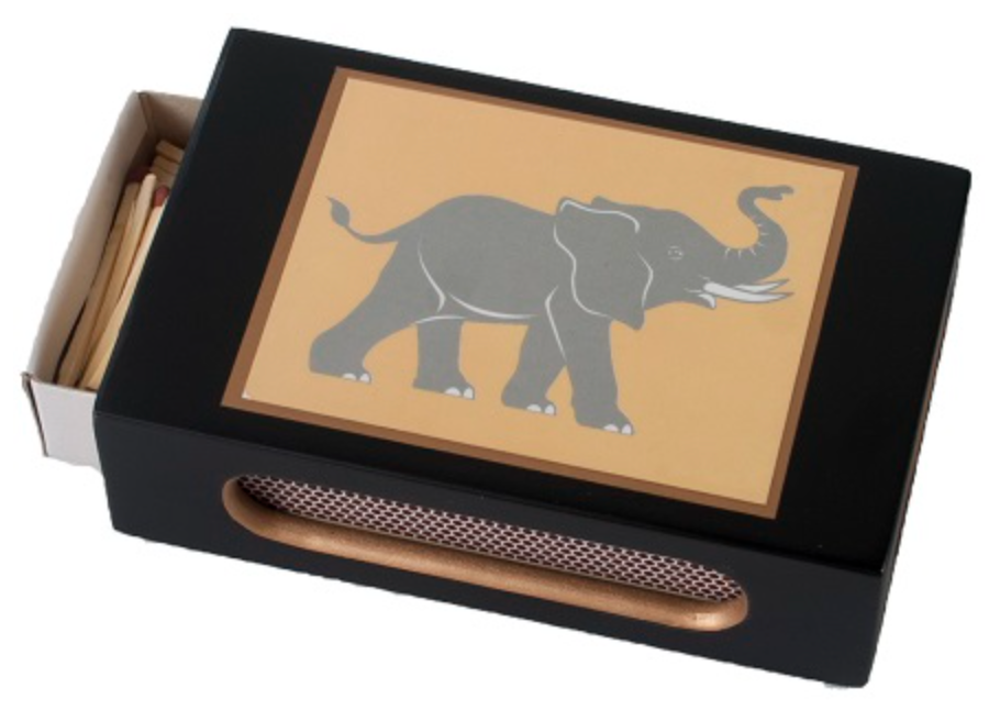 Standard Wooden Matchbox Cover with Matches: Asian Elephant