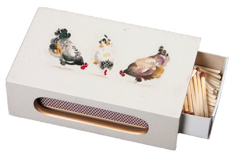Standard Wooden Matchbox Cover with Matches: Chickens