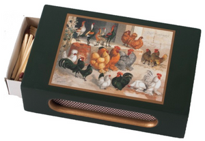 Standard Wooden Matchbox Cover with Matches: Chickens on Dark Green