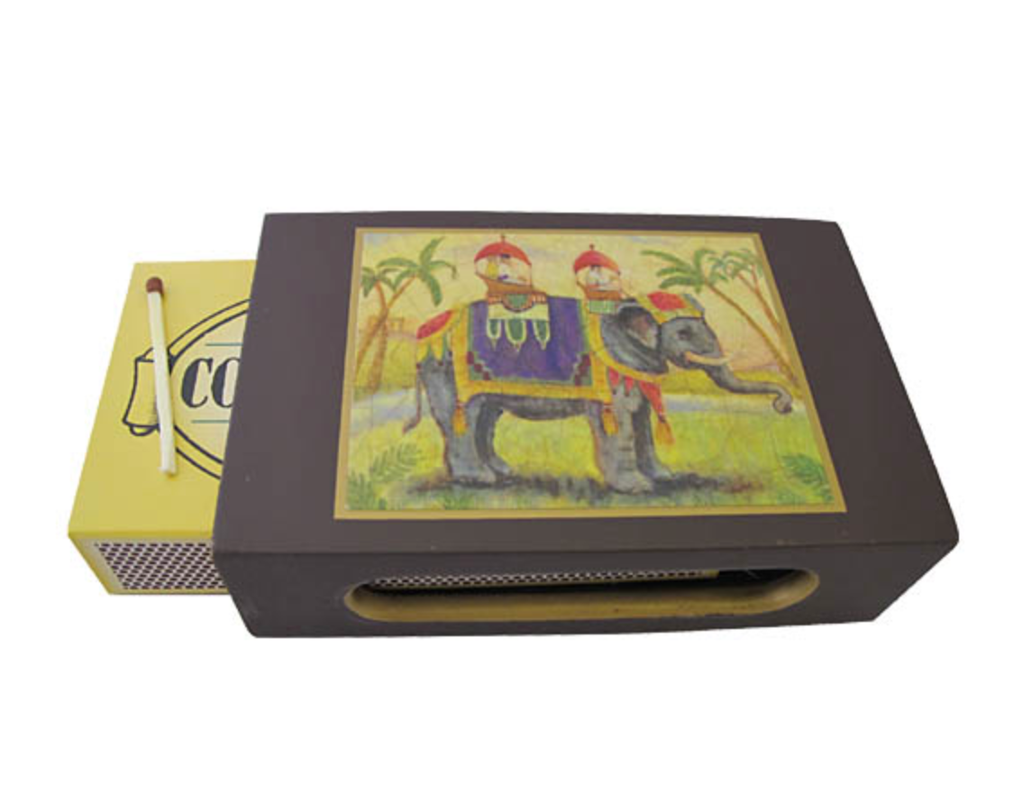 Standard Wooden Matchbox Cover with Matches: Elephant on Dark Red