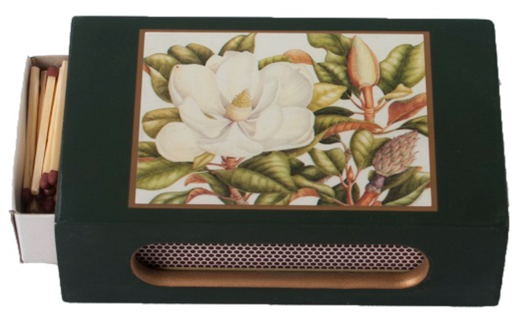 Standard Wooden Matchbox Cover with Matches: Magnolia on Dark Green