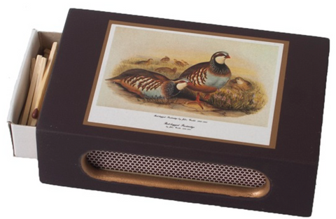Standard Wooden Matchbox Cover with Matches: Partridge on Dark Red or Dark Green