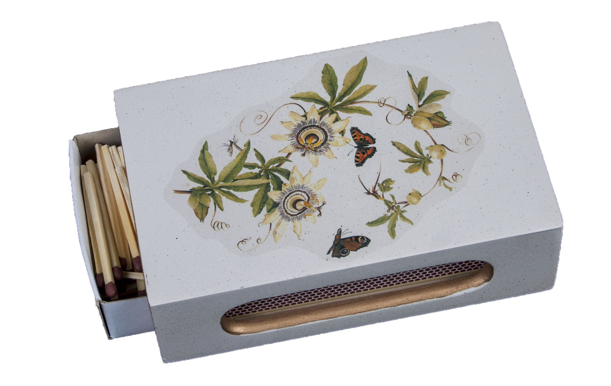 Standard Wooden Matchbox Cover with Matches: Passion Flower