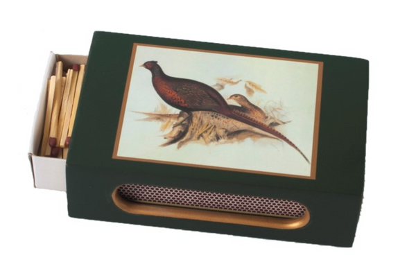 Standard Wooden Matchbox Cover with Matches: Pheasant on Dark Red or Dark Green