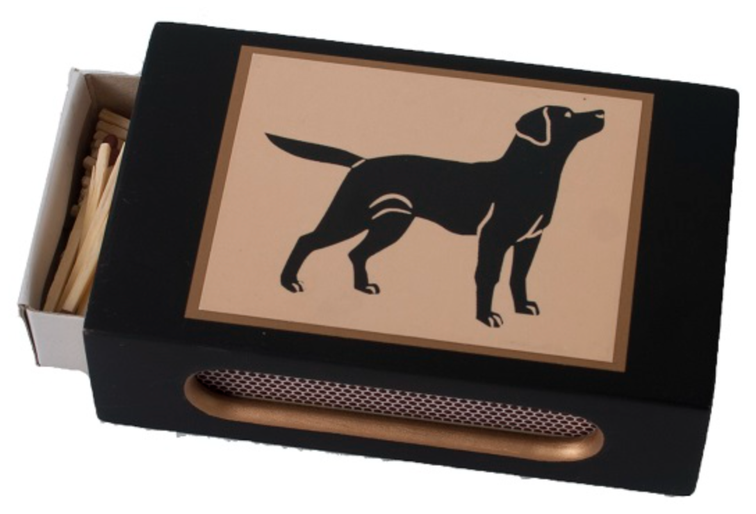 Standard Wooden Matchbox Cover with Matches: Standing Labrador