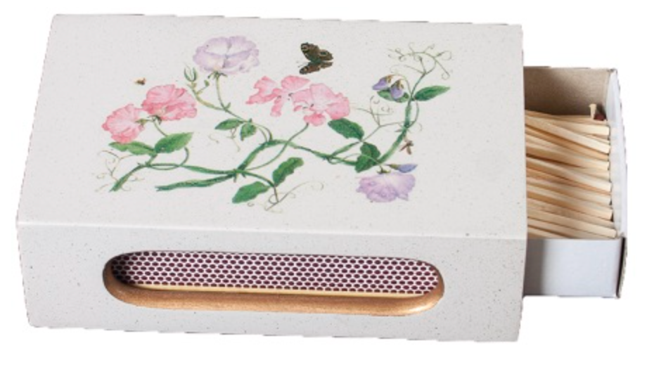 Standard Wooden Matchbox Cover with Matches: Sweet Pea