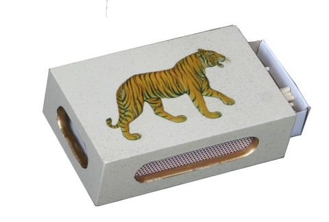 Standard Wooden Matchbox Cover with Matches: Tiger
