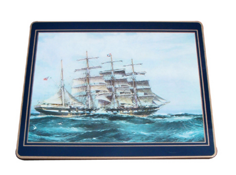 Traditional Continental Mats: Clipper Ships on Dark Blue x 4