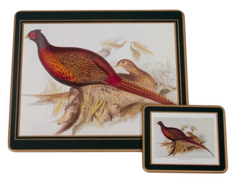 Traditional Table Mats: Gamebirds x 6