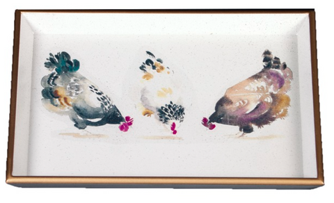 Vanity Tray: Chickens