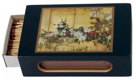 Standard Wooden Matchbox Cover with Matches: Chinese Flowers on Dark Blue