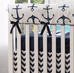 Crib Rail Cover in Navy Anchors