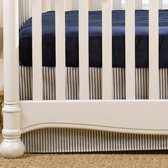 Canvas and Navy Ticking Stripe Crib Skirt