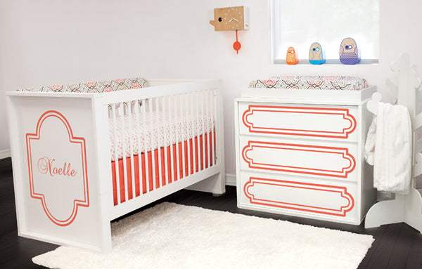 Monogrammed Crib with Liz and Roo Coral Crib Bedding
