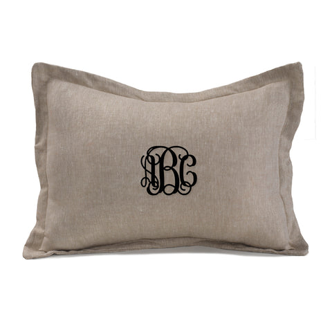 Flax linen baby pillow with monogram by Liz and Roo
