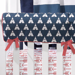 coral and navy teepee crib bedding