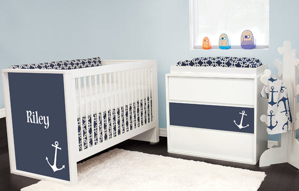 Anchor Crib and Navy Metro with Anchors Crib Bedding by Liz and Roo