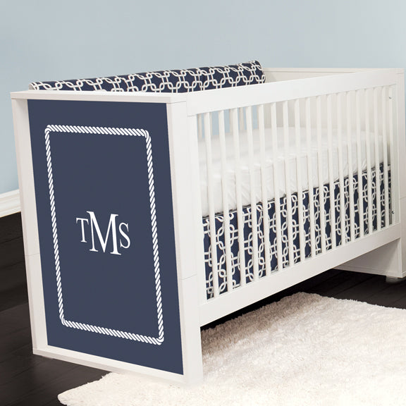 Monogrammed Crib with Navy Metro Crib Bedding
