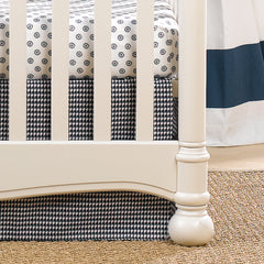 Navy Houndstooth Crib Skirt and Medallion Crib Sheet by Liz and Roo
