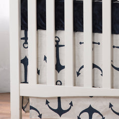 Navy Anchors Crib Skirt by Liz and Roo