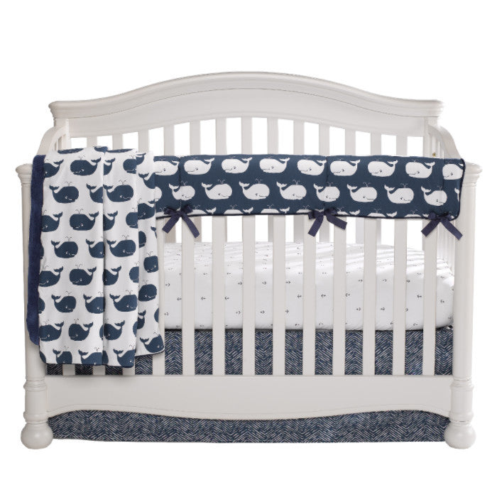Whale Tails Bumperless Crib Bedding (Navy)