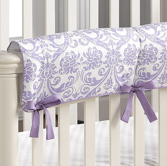 Abigail Lavender Damask Crib Rail Cover - liz-and-roo-fine-baby-bedding.myshopify.com
