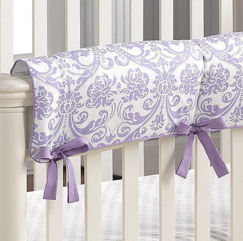 Abigail Lavender Damask Crib Rail Cover