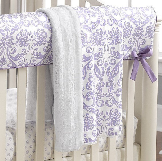Abigail Lavender Damask Minky Receiving Blanket - liz-and-roo-fine-baby-bedding.myshopify.com