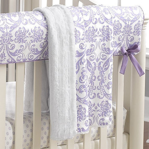 Abigail Lavender Damask Minky Receiving Blanket