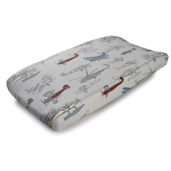 vintage airplanes contoured changing pad cover