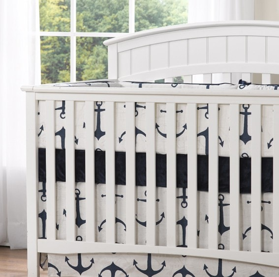 Anchors Crib Skirt Sample Liz And Roo Fine Baby Bedding