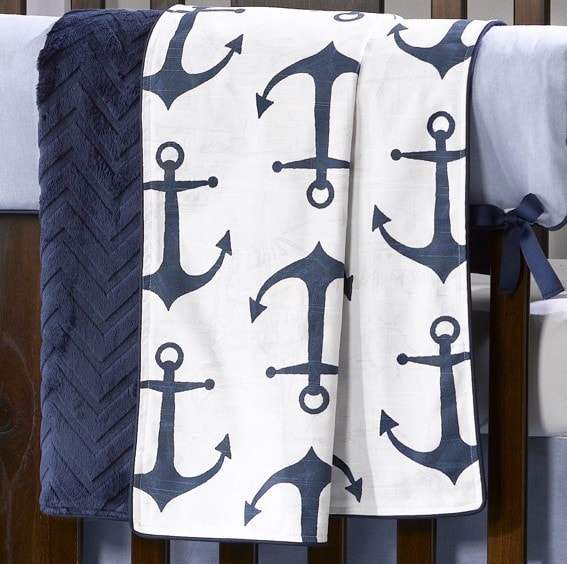 Navy Anchors Minky Receiving Blanket - liz-and-roo-fine-baby-bedding.myshopify.com