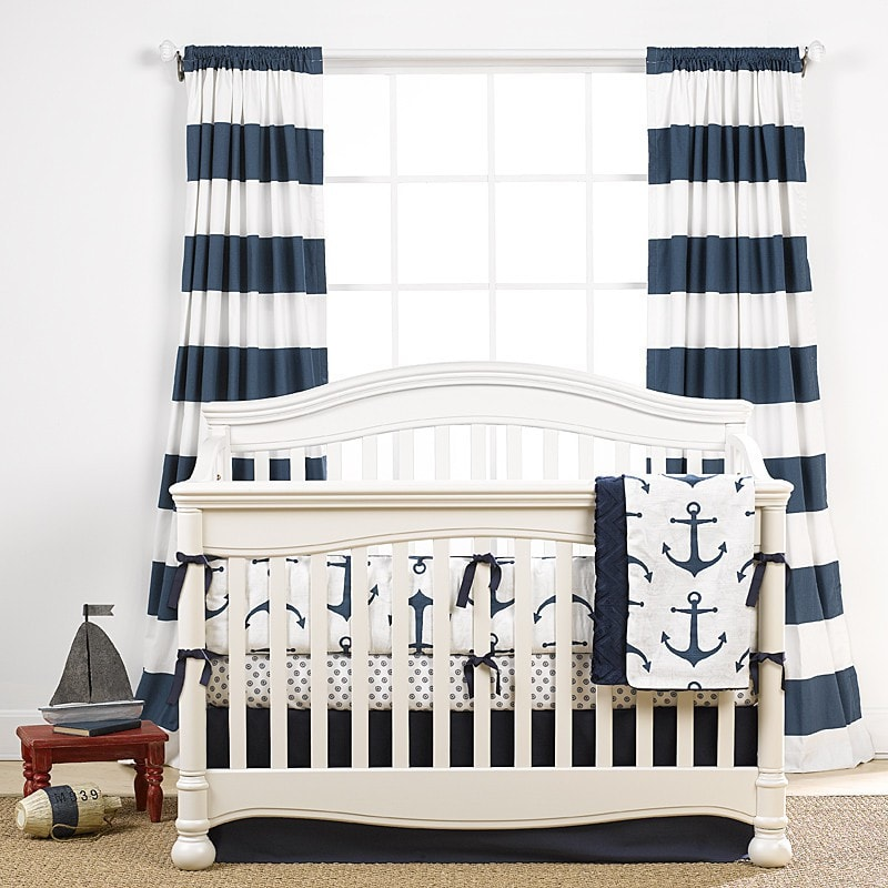 Cabana Stripe Curtains - Navy - liz-and-roo-fine-baby-bedding.myshopify.com
