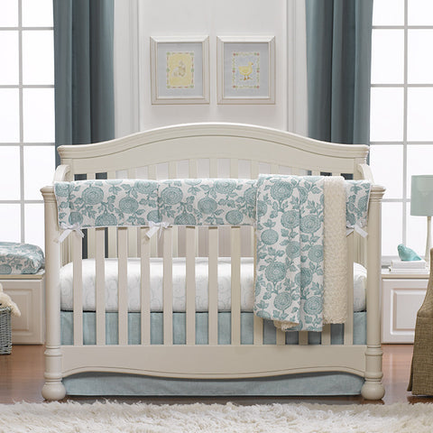 Aqua Blossoms Bumperless 3-pc. Crib Bedding