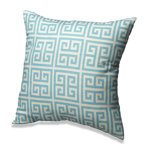 Aqua Greek Key Throw Pillows